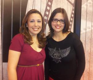 Brenda Mar(que)s com Adriana Ferreira, apresentadora do programa Retratos da TV Horizontes