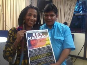 Avelin Rosana, representante do Imersão Latina no Comitê Mineiro de Apoio à Causa Indígena com o líder Guarani Kaiowá Tonico Benites Ava Guarani Kaiowá apóia a campanha #SOSMAXAKALI