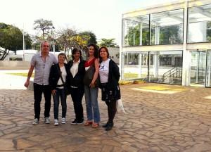 Na foto: Flávio Henrique, Renata Mielli, Rita Freire, Florence Poznanski e Brenda Marques