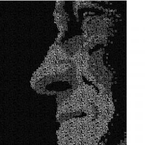 """""""Face Oculta""""Autorretrato c/ letras, desenhado à mão e finalizado em computação gráfica"""